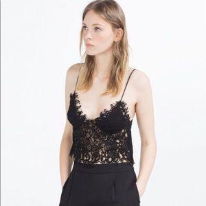 Zara black lace crop top